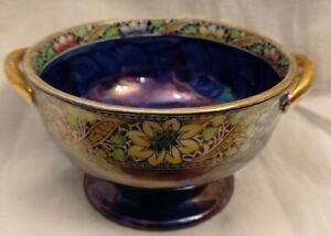Maling Pottery Small Bowl, Blue& Gold, VGC