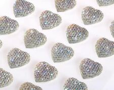 CraftbuddyUS CB046SW 24pc16mm Self Adhesive AB Clear Diamante Bubble Heart Gems