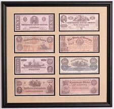 Civil War Confederate money replica framed display  $2, $5, $20, $100, $500 bill