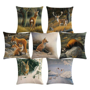 """18"""" Cute Forest Animal Cojines Deer Fox Rabbit Pillow Cases Linen Cushion Cover"""