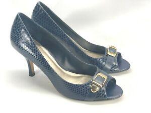 Antonio Melani Women 9.5 M Blue Croc Scales Leather Open Toe Dress Heels Shoes