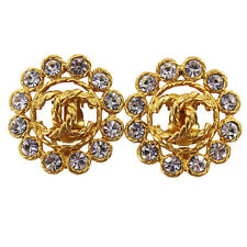 CHANEL CC Logos Rhinestone Earrings Clip-On 29 Gold France Vintage Auth #Z513 I
