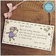 Personalised Dance Teacher Gift Present Plaque/sign Thank You Girl Ballet School