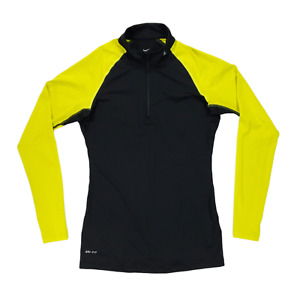 Nike Pro Dri-Fit 1/4 Zip Long Sleeve Running Top Women's Medium Black/Yellow