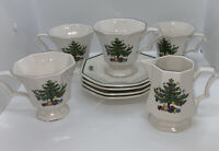 Christmastime Nikko Japan Set of 9 Octagonal Footed Tea Cups & Saucers Creamer