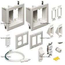 Recessed In Wall Bridge Kit Flat Screen TV Electrical 2 Gang White New TVBR2505K