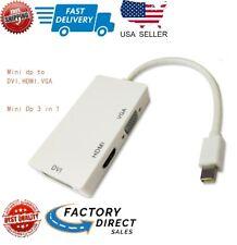 3 in1 Mini Display Port DP Thunderbolt to HDMI VGA DVI Adapter Cable For Mac Air