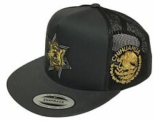 POLICIA FEDERAL MEXICO CHIHUAHUA HAT 2 LOGOS DARK GREY TRUCKE SNAP BACK