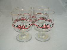 "Libbey LRS40 HOLLY BERRY & RIBBON 4-41/2"" Champagne Sherbet Glasses Christmas"