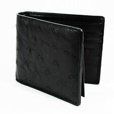 New Black Genuine Ostrich Leather Skin Mens Bi-fold Soft Wallet Free shipping.