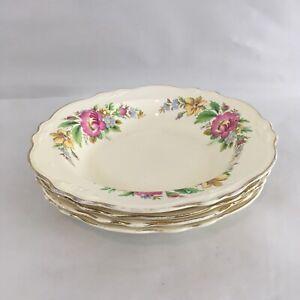 """Homer Laughlin Virginia Rose D 45 N 8 Vtg USA Made 8 1/4"""" Soup Cereal Bowls (4)"""