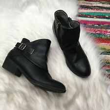 Blowfish Womens Ankle Boots US 7.5 Black Zipper Buckle Strap Stacked Heel B138