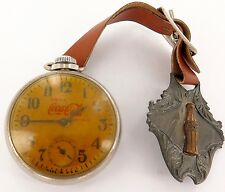 "`.VINTAGE DRINK COCA COLA ""DOLLAR"" POCKET WATCH WITH COCA COLA METAL FOB A FIXER"