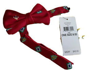 Polo Ralph Lauren Newport Red Bow Silk Tie Boys 8-20 Made In Italy Hooks Closed