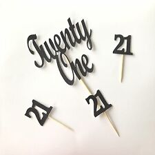 Twenty One Cake topper + 21 Cupcake Toppers Birthday Party Decoration