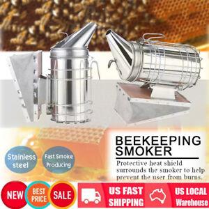 Bee Hive Smoker Stainless Steel  + PU w/ Heat Shield Board Beekeeping Equipment