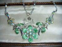 VINTAGE Aurora Borealis Rhinestone Iridescent Green Enamel Flower Bride Necklace