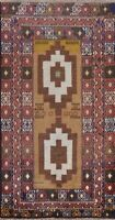 Geometric Vintage Balouch Oriental Area Rug Hand-Knotted Wool 4x7 Kitchen Carpet