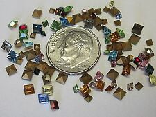SWAROVSKI 2mm & 3mm SQUARE RHINESTONES ART 4401 CRYSTAL LOT VTG JEWELRY REPAIR