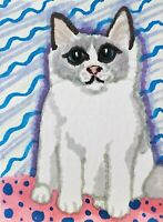 Ragdoll Sweetie ACEO PRINT Cat Mini Art Card 2.5 X 3.5 Signed KSAMS Collectible