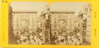 FRANCE Paris animé La Porte Saint-Denis, Photo Stereo Vintage Albumine ca 1865