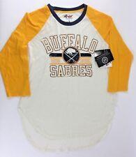 "NEW GII 4her NHL Womens L BUFFALO SABRES Hockey 3/4"" Sleeve Tee Carl Banks Retro"
