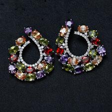 18k White Gold Cuff Earrings made w/ Swarovski Crystal Multicolor Stone Trendy