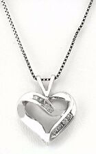 Genuine 0.23 Cts Diamonds 10k Heart & 14k Chain White Gold Necklace
