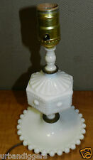 5513/ Vintage White Milk Glass ~ Hobnail Boudoir Bedroom Lamp ~ nice