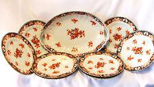Antique 9 Piece Fine China Serving Set Large Bowl and 8 Salad or Dessert Plates