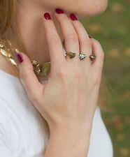 Anillo doble con 3 corazones color bronce - anillo corazón brillantes