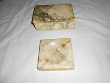 Vintage alabaster ashtray cigar tray, & cigarette box