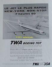 PUBLICITE TWA BOEING 707 AVION JET NEW YORK USA DE 1960 FRENCH AD TRAVEL PUB