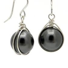 HANDGEWICKELT ● 12mm SC Perlen Ohrringe schwarz Silber 935 recycelt