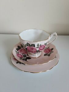 Vintage Queen Anne England Pink Rose Trio cup saucer plate