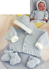 PREMATURE BABY DOLL JACKET MITTENS BOOTEES KNITTING PATTERN 10/20 INCH (827)