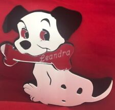 Dalmatian Dog W/ Bone Wall Design Personalized Wall Decor Hanging Mirror Engrave