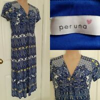 PER UNA Blue White Gold Scarf Print Maxi Dress Size 14 Approx.