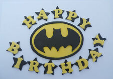 Handmade Edible Batman Cake Topper, With Happy Birthday Stars