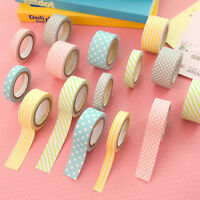 5 Rolls Colorful Washi Tape Decorative Sticky Paper Masking Tape Adhesive 3 Size