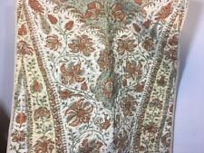 Pottery Barn Euro Sham Pairs Quilted Large Bedding Tan Paisley Block Print