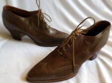 Vintage 1920s Brown Leather Lace Up Shoes Size 5