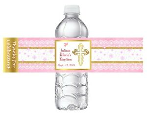 10 PINK GIRL BAPTISM CHRISTENING GOLD WHITE FAVORS WATER BOTTLE LABELS WRAPPERS