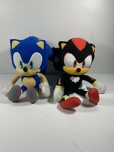 """Used 11""""-12"""" Set Of 2 Sonic And Shadow Sonic The Hedgehog Soft Plush Toys"""