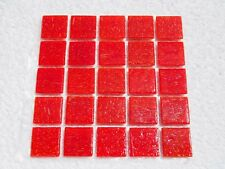 """Red Vitreous Glass Tiles 25 x pcs for MOSAIC & Glass Crafts Approx """"2cm x 2cm"""""""