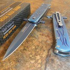 TAC-FORCE Blue Titanium Spring Assisted Opening Folding Pocket Knife NEW!