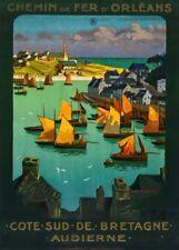 Britanny for Audierne, France, 1920, Vintage French Art Deco Travel Poster