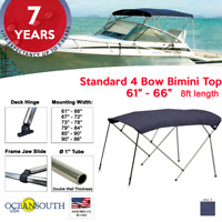 """Standard BIMINI TOP 4 Bow Boat Cover Blue 61""""-66"""" Wide 8ft Long With Rear Poles"""