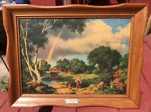 Vintage Framed PAUL DETLEFSEN Litho Print DAYS TO REMEMBER Rainbow Boy PLAQUE