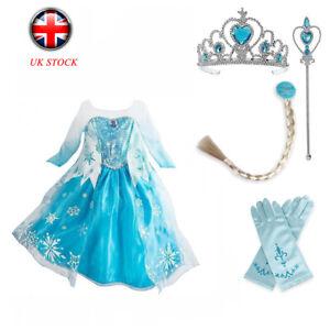 Girls Princess Dress Elsa Cosplay Costume Fancy Dress Up Birthday Gift Kids